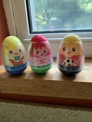 Lot 3 Of 3 Hasbro Weeble Wobble Figures Toys 2009, 2 Female, 1 Male