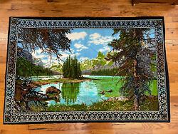 Vintage Yosemite Valley Woods Outdoors Scene Tapestry Made in Turkey