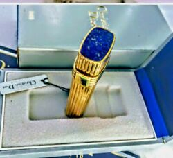 Vintage Dior Godrons Swiss Made Gold Plated Lapis Lazuli Lighter + Box And Paper