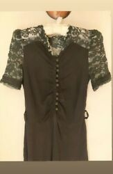 Vintage 1930s Black Lace Puff Sleeve Dress As Is