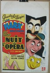 A Night At The Opera 1935 Original Re-release Belgian Poster Marx Bros Dumont