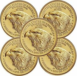 Lot Of 5 - 2021 1/10 Oz 5 Gold American Eagle Coin Uncirculated Type 2 In Stock