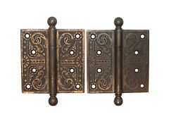 Pair Of Aesthetic Cast Iron Brass Plated 4.5 X 4.5 Butt Door Hinges