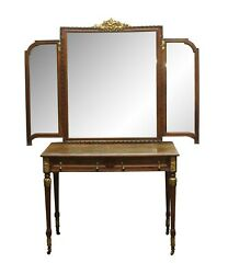 Antique Wood French Art Deco Tri-fold Mirrored Vanity