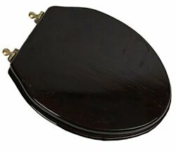 5f1e2-18ab Deluxe Wood Toilet Seat Stained Dark Brown/antique Brass Elongated