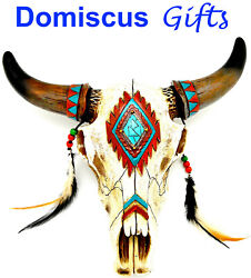 12 New Western Native American Longhorn Cow Skull Southwest Home Decor Feathers