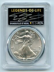 2021 1 American Silver Eagle Type 2 Pcgs Psa Ms70 Legends Of Life Shaq O'neal