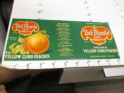 Del Monte Yellow Cling Peach Fruit 1930s Metal Tin Can Food Paper Label 1lb 13oz