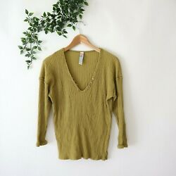 Free People Beach Women#x27;s Ribbed V Neck Long Sleeve Top L Large Green $9.99