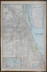 Vintage 1901 Chicago Illinois Map 14x22 Old Antique Original Cook County