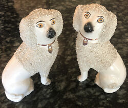Antique Staffordshire Confetti Poodle Dog Separate Paws 6 1/2