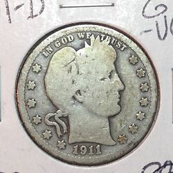 1911-d G-vg Barber Quarter Y And Part T Better Date