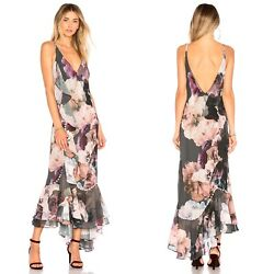 We Are Kindred Paloma Ruffle Night Garden Floral Maxi Slip Dress Gown 2 Revolve
