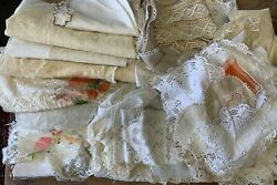 Huge Job Lot 40+ Vintage Table Linen Lace Broderie Anglaise Tablecloths And More