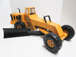 Vintage Mighty Tonka Road Grader With Wing Blade In Orange 1970's Nice