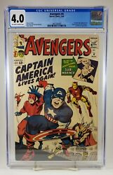 Avengers 4 Cgc 4.0 1st Silver Age Appearance Of Captain America Marvel 1964
