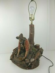 1980 Apsit Bros. Usa Gold Miner Prospector Chalkware Table Lamp Panning Old West