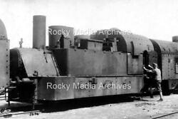 Iqw-10 Wwi, German Soldier And Armoured Steam Engine. Photo