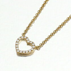 And Co. K18pg M Heart Diamond Necklace From Japan Fedex No.2722