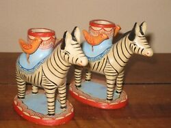 Vintage Zebra And Bird Two Candle Holders Mexican Folk Art Pottery Tree Of Life