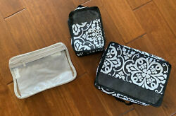 New 3 piece quot;Thirty Onequot; Travel OrganizerCosmetic Cases Geormetic Blk amp; White $19.95