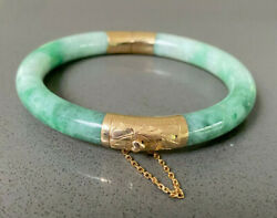 Vintage Green Jade Bangle 14k Yg W/ Heart-shaped Button Clasp Andchain-small Wrist