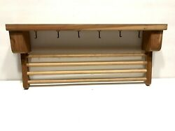 Vintage Style Wood Wall Towel Clothes Drying Rack Hooks Farmhouse