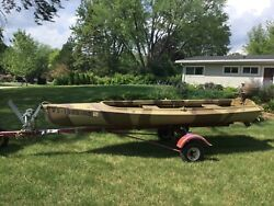 Antique Herters Goose And Duck Boat Includes Evinrude Ducktwin