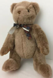 Gund Teddy Bear Timeless Collectibles Beige Jointed W/bow Plush Stuffed Toy 15