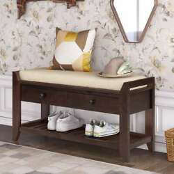 Wood Shoes Rack With Cushioned Seat And Drawers Entryway Storage Bench Us Stock