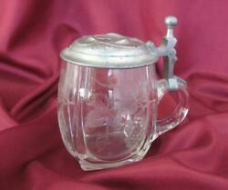 1920s Antque Handmade Engraved Crystal Glass Cup Mug Pewter Lid