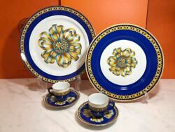 Hermes Cocardo Rare Large Plate 1 Medium Plate 1 Cup And Saucer 2 Tableware