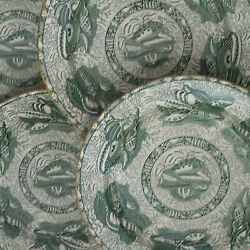 Mottahedeh - Torquay - 4 Green Transfer Decorated Dinner Plates - Circa 1990and039s