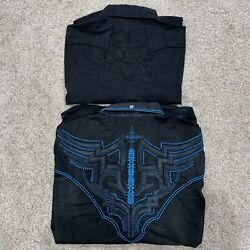 Lot of 2 Roar Men#x27;s 3XL Black Blue Button Front Long Sleeve Embroidered Shirts