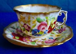 Hammersley And Co Queen Anne Hand Painted Fine Bone China Cup And Saucer 1940s