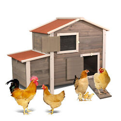 Wooden Chicken Coop Hen House with Removable Tray amp;Ventilation Door Nesting Box