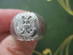 Vintage Sterling Army Ring With Silver Eagle