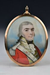 18th / 19th Century British Military Miniature Painting Gold Mourning Frame 2