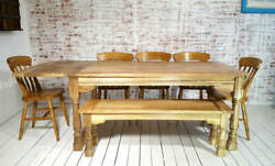 All Wood Extendable Rustic Farmhouse Dining Table Natural Hardwood Finish