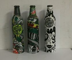 3 2008 Mountain Dew Label Art Aluminum Soda Bottles Cans By Pepsi All Full