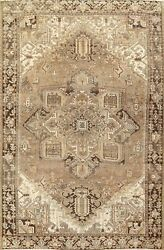 Vintage Muted Heriz Geometric Hand-knotted Area Rug Wool Oriental Carpet 10and039x13and039