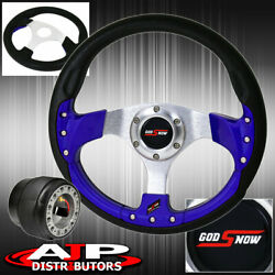 Hub Adapter For 90-93 Accord + 320mm Pvc Wrap Blue Fusion Style Steering Wheel