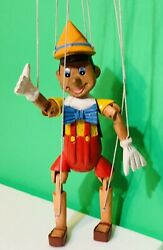 Vintage Carved Wood Wooden Marionette Puppet Pinocchio Hand Painted 14.5