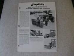 Simplicity Snow Plows Blades For Lawn Tractor Specification Sheet Brochure