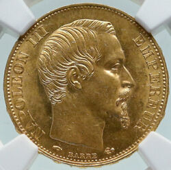 1858 A France Emperor Napoleon Iii Antique Gold 20 Franc French Ngc Coin I86632