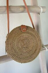 New Handmade Round Box Shaped Contrasting Brown Wicker Leather Messenger X-body