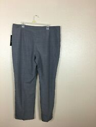 Le Suit Womenand039s Hook And Eye Stripe Lined Trouser Pants Zipper Fly Gray Size 18