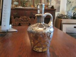 1 C.1900 Art Nouveau Webster Sterling Silver Overlay Decanter Very Organic