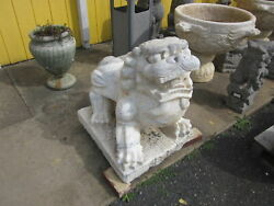 Antique Or Vintage Pair Chinese Marble Guardian Foo Dogs Heavy For Their Size