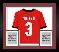 Framed Todd Gurley Ii Georgia Bulldogs Autographed Red Nike Game Jersey